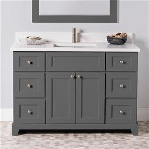 Meuble-lavabo simple London de St. Lawrence Cabinets, comptoir en quartz Carrera, 48 po, gris graphite