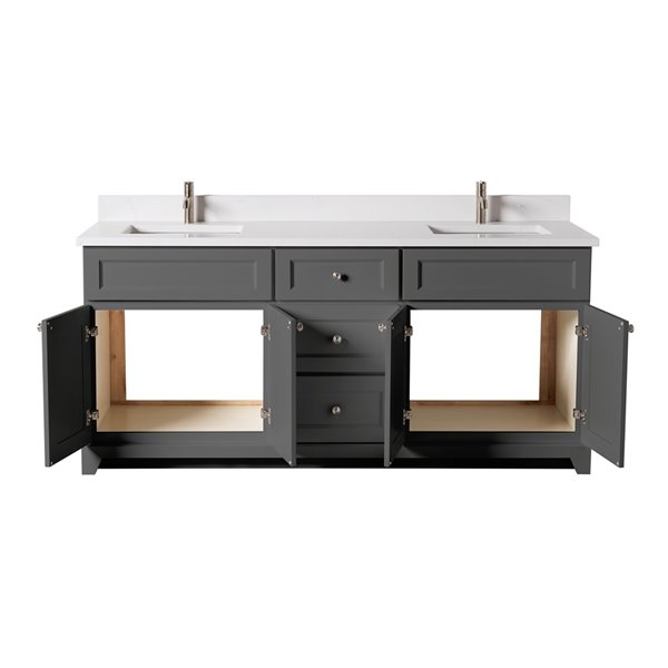 St. Lawrence Cabinets London Vanity with Carrera Quartz Top - Double Sink - 72-in - Graphite Grey