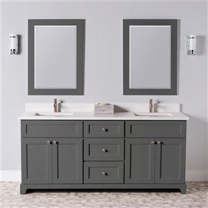 Meuble-lavabo double London de St. Lawrence Cabinets, comptoir en quartz Carrera, 72 po, gris graphite