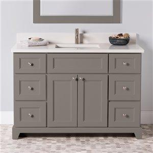 Meuble-lavabo simple London de St. Lawrence Cabinets, comptoir en quartz Douvres blanc, 48 po, gris titane