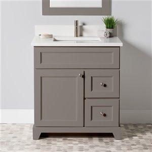 Meuble-lavabo simple London de St. Lawrence Cabinets, comptoir en quartz Carrera, 30 po, gris titane
