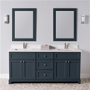 St. Lawrence Cabinets London Vanity with Dover White Quartz Top - Double Sink - 72-in - Blue-Grey