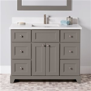 St. Lawrence Cabinets London Vanity with Carrera Quartz Top - Single Sink - 42-in - Titanium Grey
