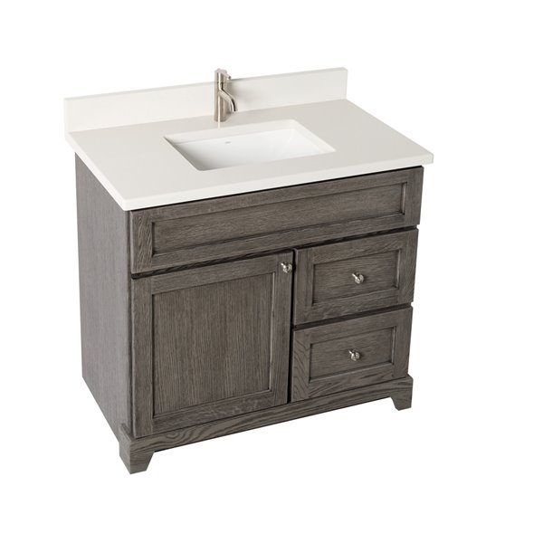 St. Lawrence Cabinets Richmond Vanity with Dover White Quartz Top - Single Sink - 36-in - Grey-Brown