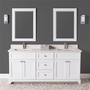 Meuble-lavabo double London de St. Lawrence Cabinets, comptoir en quartz Douvres blanc, 72 po, blanc