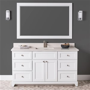 St. Lawrence Cabinets London Vanity with Dover White Quartz Top - Single Sink - 60-in - White