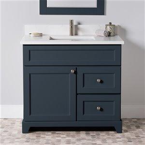 Meuble-lavabo simple London de St. Lawrence Cabinets, comptoir en quartz Carrera, 36 po, gris-bleu