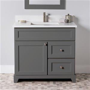 Meuble-lavabo simple London de St. Lawrence Cabinets, comptoir en quartz Carrera, 36 po, gris graphite