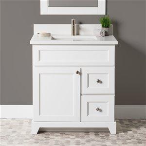 Meuble-lavabo simple London de St. Lawrence Cabinets, comptoir en quartz Carrera, 30 po, blanc
