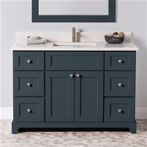 Meuble-lavabo simple London de St. Lawrence Cabinets, comptoir en quartz Douvres blanc, 48 po, gris-bleu