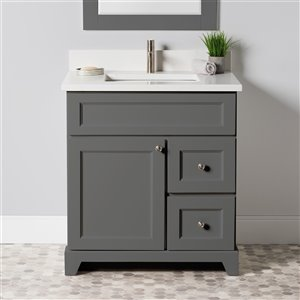 Meuble-lavabo simple London de St. Lawrence Cabinets, comptoir en quartz Carrera, 30 po, gris graphite