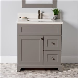 Meuble-lavabo simple London de St. Lawrence Cabinets, comptoir en quartz Douvres blanc, 30 po, gris titane