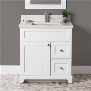 Meuble-lavabo simple London de St. Lawrence Cabinets, comptoir en quartz Douvres blanc, 30 po, blanc