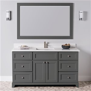 St. Lawrence Cabinets London Vanity with Carrera Quartz Top - Single Sink - 60-in - Graphite Grey
