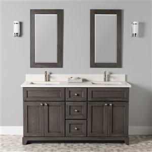 Meuble-lavabo double Richmond de St. Lawrence Cabinets, comptoir en quartz Douvres blanc, 60 po, gris brun