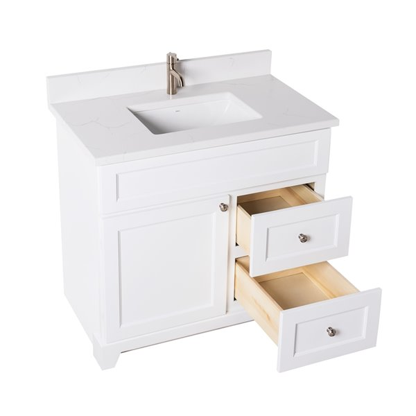 St. Lawrence Cabinets London Vanity with Carrera Quartz Top - Single Sink - 36-in - White