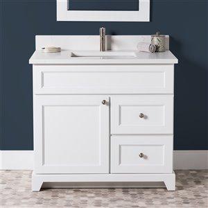 Meuble-lavabo simple London de St. Lawrence Cabinets, comptoir en quartz Carrera, 36 po, blanc