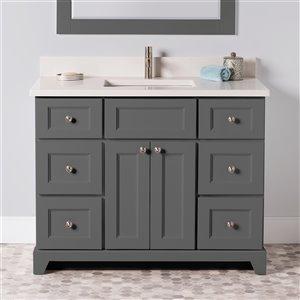 Meuble-lavabo simple London de St. Lawrence Cabinets, comptoir en quartz Douvres blanc, 42 po, gris graphite