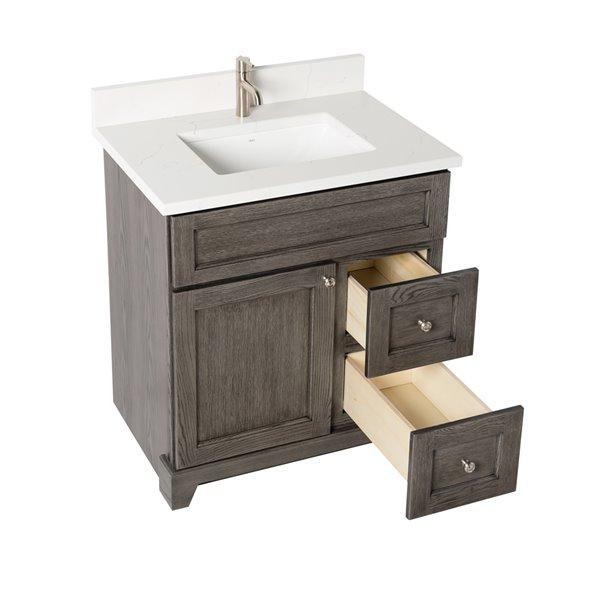 Meuble-lavabo simple Richmond de St. Lawrence Cabinets, comptoir en quartz Carrera, 30 po, gris brun