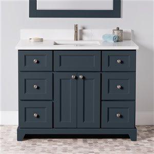 Meuble-lavabo simple London de St. Lawrence Cabinets, comptoir en quartz Carrera, 42 po, gris-bleu