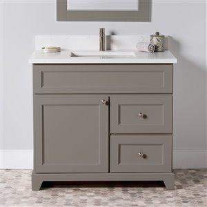 Meuble-lavabo simple London de St. Lawrence Cabinets, comptoir en quartz Carrera, 36 po, gris titane