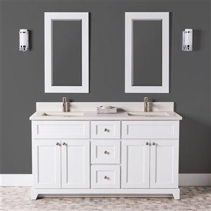 Meuble-lavabo double London de St. Lawrence Cabinets, comptoir en quartz Douvres blanc, 60 po, blanc