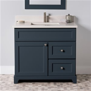 St. Lawrence Cabinets London Vanity with Dover White Quartz Top - Single Sink - 36-in - Blue-Grey