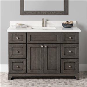 Meuble-lavabo simple Richmond de St. Lawrence Cabinets, comptoir en quartz Carrera, 48 po, gris brun