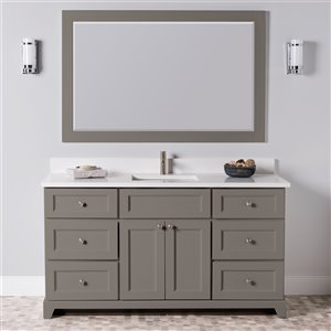 St. Lawrence Cabinets London Vanity with Carrera Quartz Top - Single Sink - 60-in - Titanium Grey