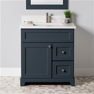 Meuble-lavabo simple London de St. Lawrence Cabinets, comptoir en quartz Carrera, 30 po, gris-bleu