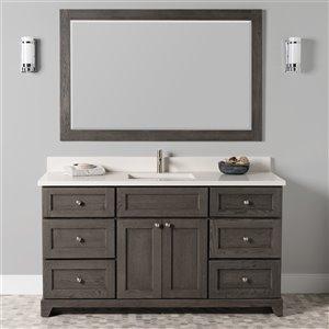 Meuble-lavabo simple Richmond de St. Lawrence Cabinets, comptoir en quartz Douvres blanc, 60 po, gris brun