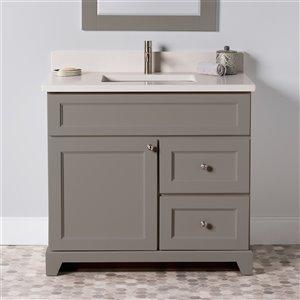 Meuble-lavabo simple London de St. Lawrence Cabinets, comptoir en quartz Douvres blanc, 36 po, gris titane