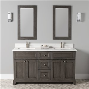 St. Lawrence Cabinets Richmond Vanity with Carrera Quartz Top - Double Sink - 60-in - Grey-Brown