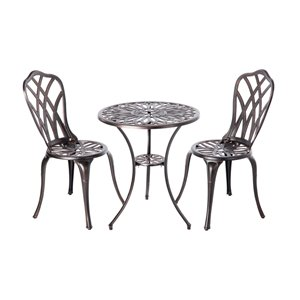 Patioflare Diane Cast Aluminum Bistro Set - Antique Bronze Finish - 3-piece