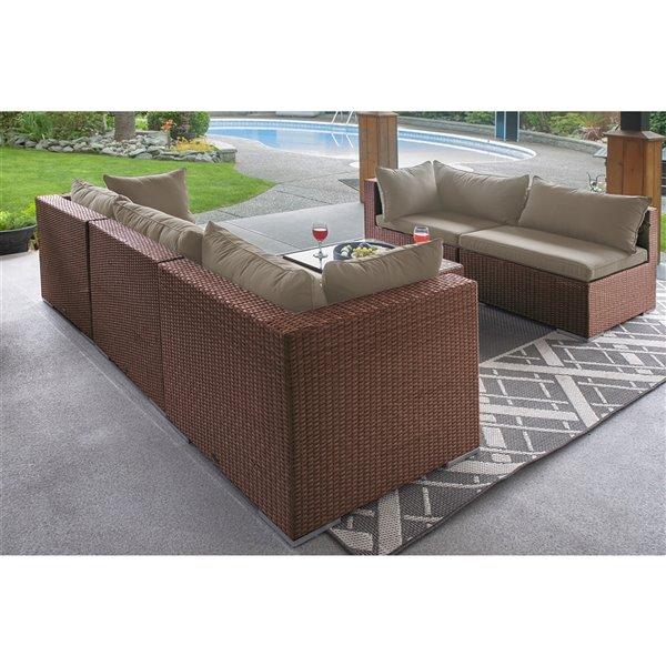 Patioflare Napier Sofa Set - Dark Brown Wicker with Beige Cushions