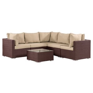 Patioflare Napier Sofa Set - Dark Brown Wicker with Beige Cushions