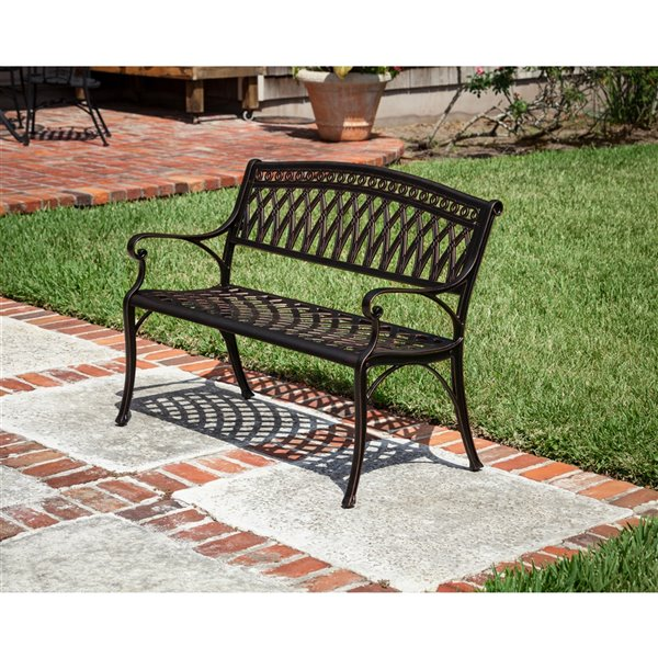Patioflare Perry Cast Aluminum  KD Park Bench - Antique Bronze Finish - 40.55-in