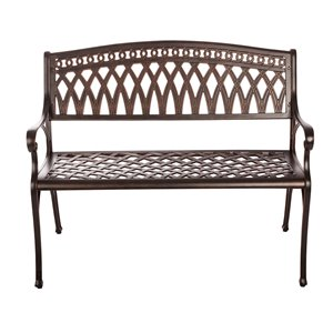 Banc de parc Perry de Patioflare, aluminium coulé, fini bronze antique, 40,55 po
