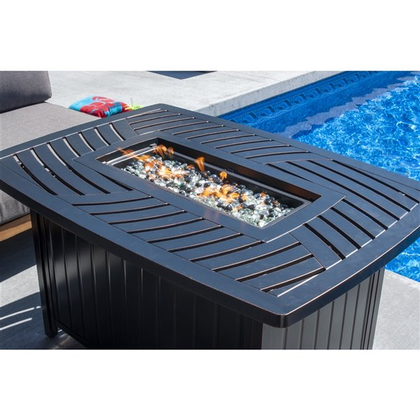 Paramount Dylan Rectangle Convertible Aluminum Outdoor Firepit - Bronze - 45,000 BTU