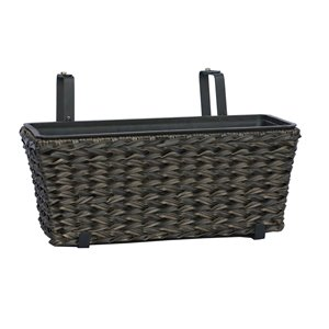 Grapevine Twist Wicker Balcony Planter With Adustable Hooks - Espresso- 2 pack