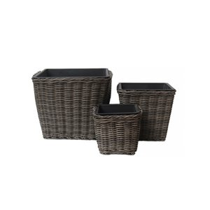 Grapevine Square Resin Wicker Planters - Neutral Grey - Set of 3