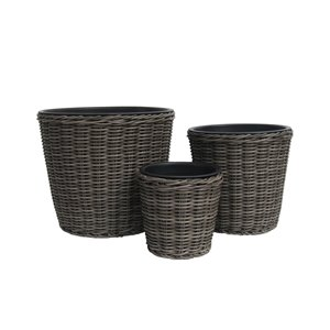 Grapevine Round Resin Wicker Planters - Neutral Grey - Set of 3