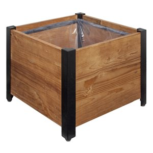 Grapevine Square Urban Garden Recycled Wood Planter Box with Plastic Liner