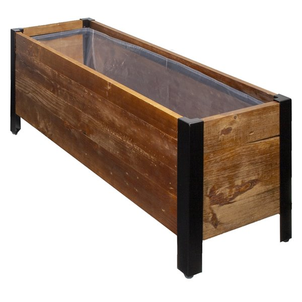 Grapevine Rectangular Urban Garden Recycled Wood  Planter Box with Plastic Liner