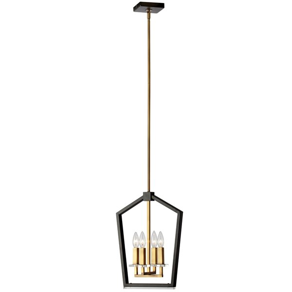 Dainolite Cordova Chandelier - 4-Light - 17.5-in - Vintage Bronze/Black
