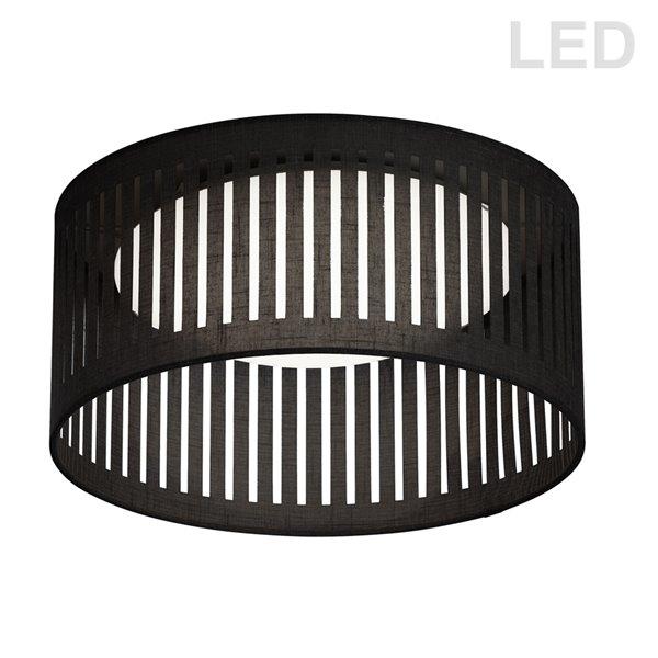Dainolite Slit Drum Flush Mount Light - 1-Light - 15-in - Black