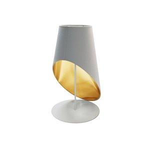 Lampe de table Slanted Drum de Dainolite, 1 lumière, 24 po, blanc/or