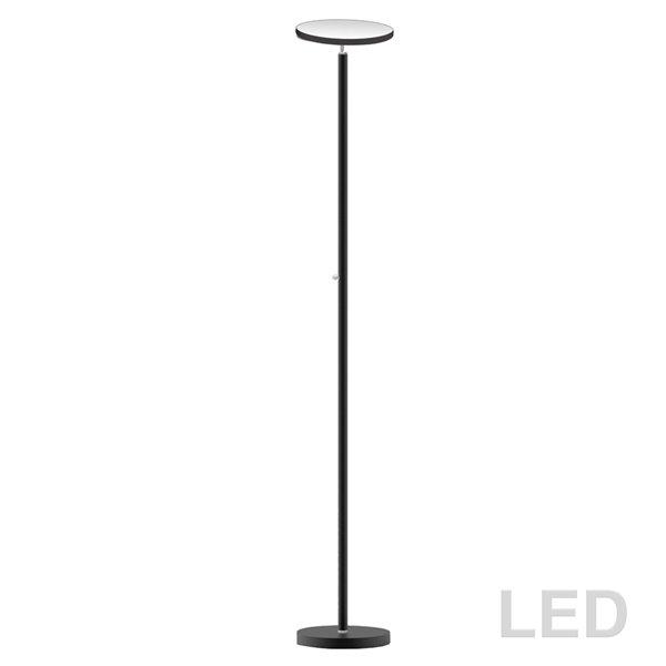 Dainolite Torchier Floor Lamp - 1-LED Light - Satin Black