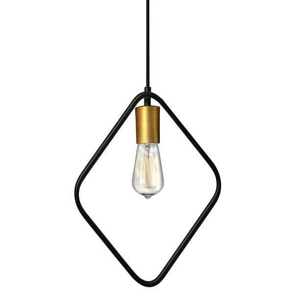 Dainolite Geometric Pendant Light - 1-Light - 12.5-in x 17-in - Gold/Black