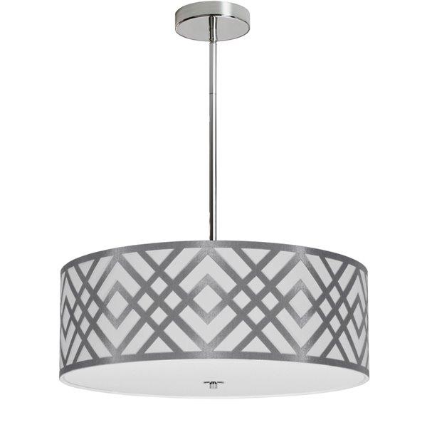 Luminaire suspendu Mona de Dainolite, 4 lumières, 19 po x 7 po, argent/blanc